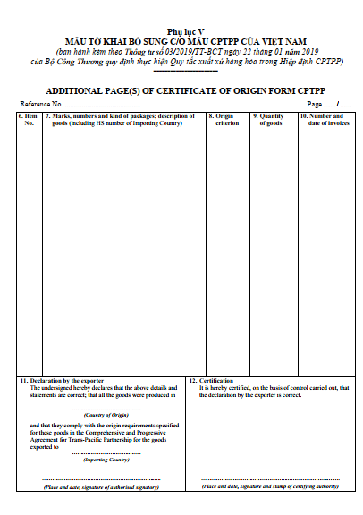 Mẫu tờ khai bổ sung CO form CPTPP