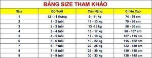 Bảng size quần áo trẻ em Trung Quốc cho các mẹ dễ lựa chọn